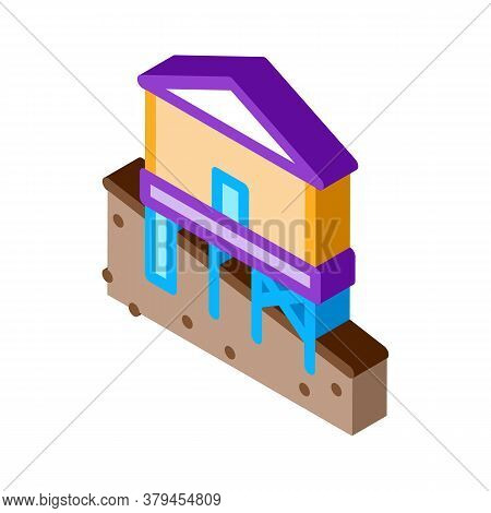Mixed Type Of Built Foundation Icon Vector. Isometric Mixed Type Of Built Foundation Sign. Color Iso