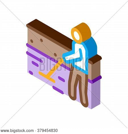 House Foundation Laying Icon Vector. Isometric House Foundation Laying Sign. Color Isolated Symbol I