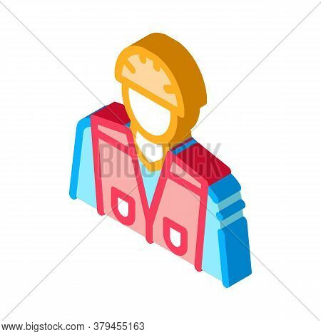 Builder Profession Icon Vector. Isometric Builder Profession Sign. Color Isolated Symbol Illustratio