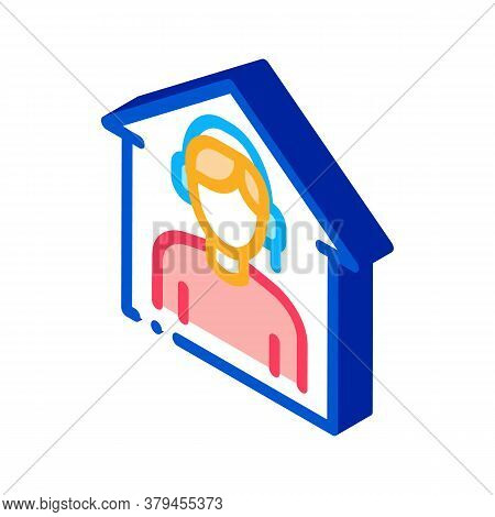 Home Call Assistance Icon Vector. Isometric Home Call Assistance Sign. Color Isolated Symbol Illustr