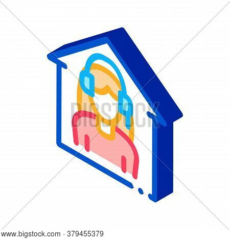 Home Call Center Icon Vector. Isometric Home Call Center Sign. Color Isolated Symbol Illustration