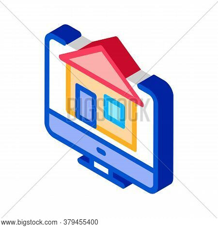 House On Computer Display Icon Vector. Isometric House On Computer Display Sign. Color Isolated Symb