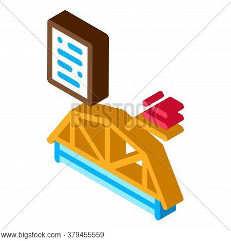 Wooden Roof Skeleton Icon Vector. Isometric Wooden Roof Skeleton Sign. Color Isolated Symbol Illustr