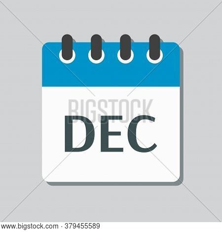 Vector Icon Day Calendar, Winter Month December