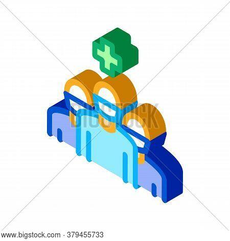 Surgeon And Nurses Icon Vector. Isometric Surgeon And Nurses Sign. Color Isolated Symbol Illustratio