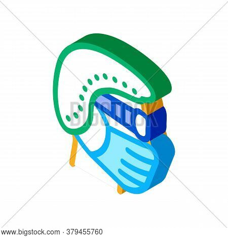 Surgeon Wearing Protection Hat Mask Glasses Icon Vector. Isometric Surgeon Wearing Protection Hat Ma