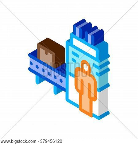 Manufacturing Machine Operator Icon Vector. Isometric Manufacturing Machine Operator Sign. Color Iso