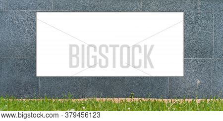 White Advertisement Poster Template Located On Grey Wall With Decorative Tile At Orange Sidewalk And
