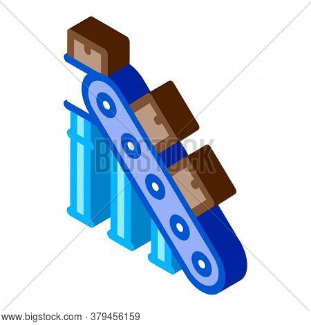 Manufacturing Conveyor Belt Icon Vector. Isometric Manufacturing Conveyor Belt Sign. Color Isolated