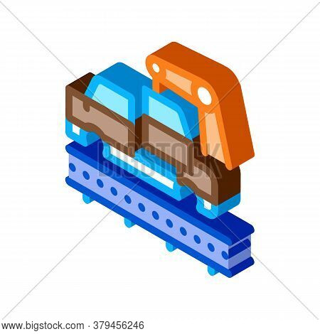 Car Manufacturing Icon Vector. Isometric Car Manufacturing Sign. Color Isolated Symbol Illustration