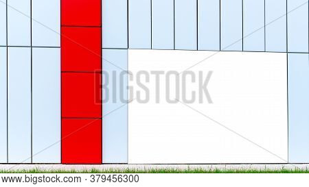 Blank Advertisement Banner On White Corporate Building Wall With Red Decorative Wall At Flowerbed Wi
