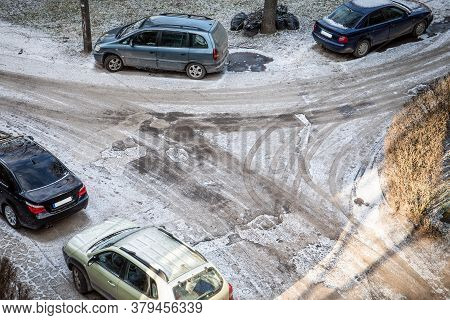 Driveway With Parked Cars In Winter, Top View