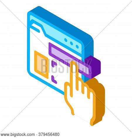 Web Site Elements Dragging Icon Vector. Isometric Web Site Elements Dragging Sign. Color Isolated Sy