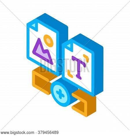Web Side Image And Text Icon Vector. Isometric Web Side Image And Text Sign. Color Isolated Symbol I