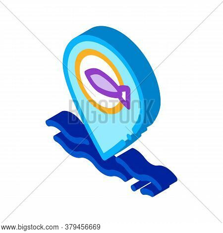 Marine Fish Location Icon Vector. Isometric Marine Fish Location Sign. Color Isolated Symbol Illustr