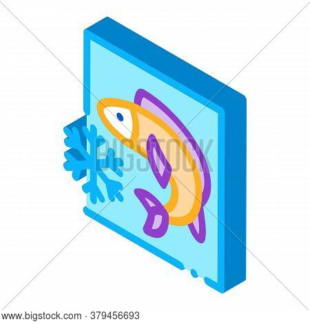 Frozen Fish Icon Vector. Isometric Frozen Fish Sign. Color Isolated Symbol Illustration