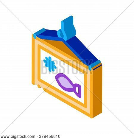 Frozen Fish Box Icon Vector. Isometric Frozen Fish Box Sign. Color Isolated Symbol Illustration