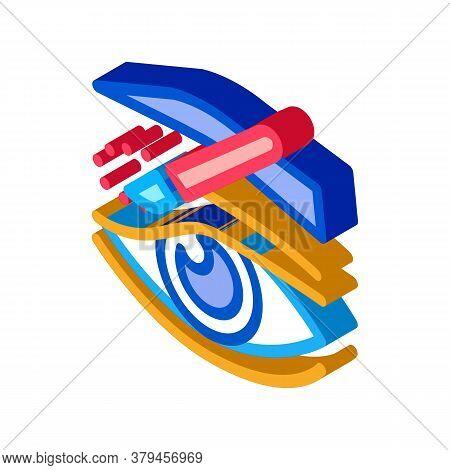 Eyelid Surgery Incision Icon Vector. Isometric Eyelid Surgery Incision Sign. Color Isolated Symbol I