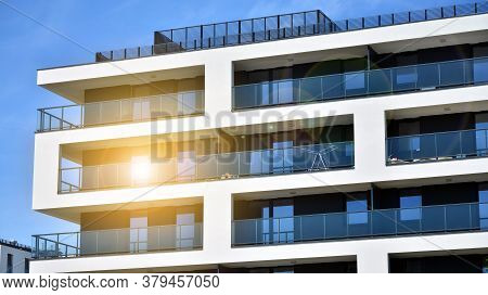 Modern Apartment Building. Balconies At Apartment Residential Building. Residential Architecture. Gl