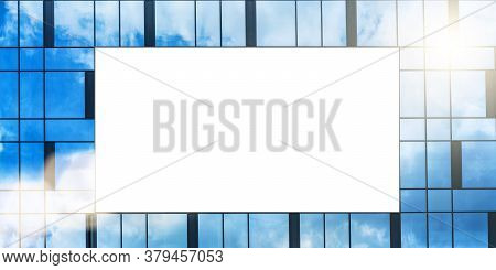Empty Advertisement Banner With Space For Template On Building Windows Reflecting Blue Cloudy Sky Ba