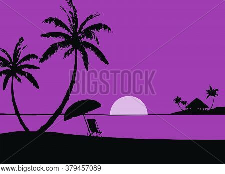 Drawing Or Sketch Of Sunset With Silhouette Of Coconut Tree Vector Editable Illustration