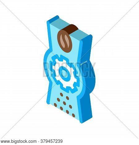 Coffee Grinder Mechanism Icon Vector. Isometric Coffee Grinder Mechanism Sign. Color Isolated Symbol