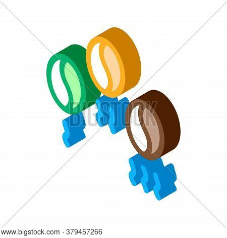 Coffee Beans Different Fry Icon Vector. Isometric Coffee Beans Different Fry Sign. Color Isolated Sy