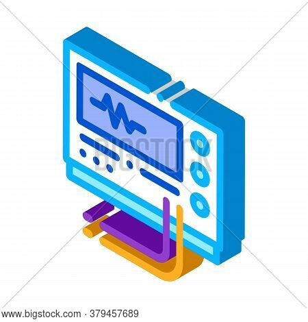 Radio Diagnosis Equipment Icon Vector. Isometric Radio Diagnosis Equipment Sign. Color Isolated Symb