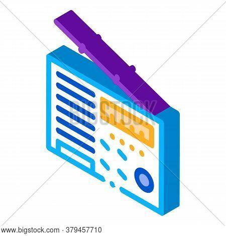 Radio Device Icon Vector. Isometric Radio Device Sign. Color Isolated Symbol Illustration