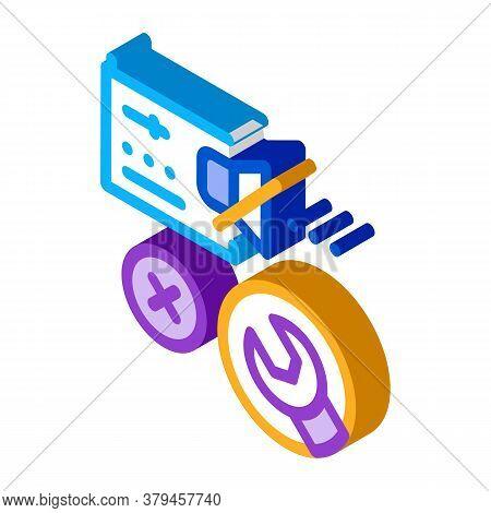Radio Broken Sound Repair Icon Vector. Isometric Radio Broken Sound Repair Sign. Color Isolated Symb