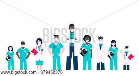 Medical Staff Doctors Team With Face Masks Clinic Employee Vector Illustration Isolated On White Bac