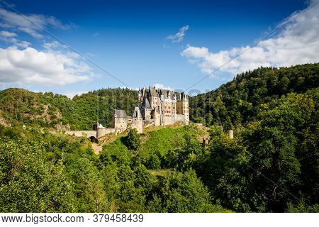 Eltz Castle, A Medieval Castle Located In Germany, Rheinland Pfalz, Mosel Region. Beautiful Old Cast
