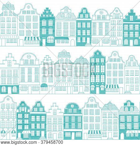 Seamless Pattern With Townhouses In European Style. Hand Drawn Vector Houses In One Color. Endless B
