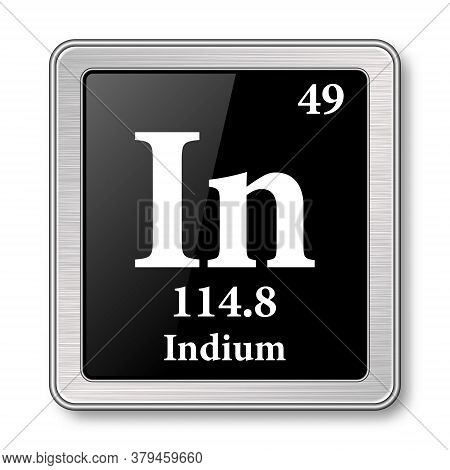 Indium Symbol.chemical Element Of The Periodic Table On A Glossy Black Background In A Silver Frame.