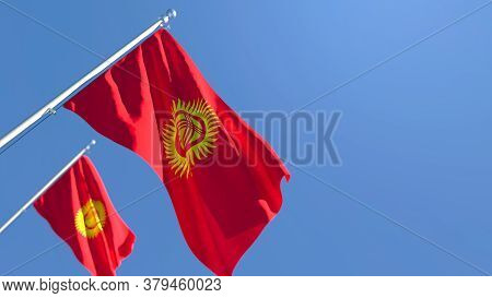 3d Rendering Of The National Flag Of Kyrgyzstan Waving In The Wind