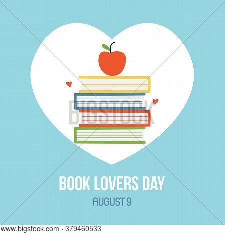 National Book Lovers Day Cartoon Style Vector Card, Illustration With Pile Of Book With Apple On Top