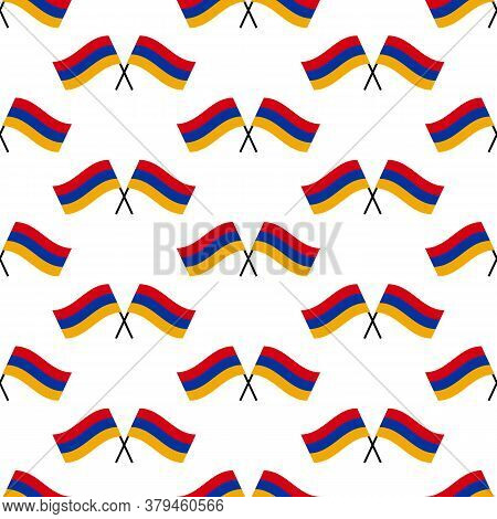 Flags Of Armenia Vector Seamless Pattern Background For Armenian Public And National Holidays.