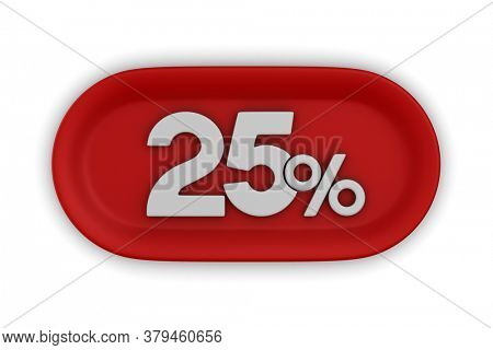 Button with twenty five percent on white background. Isolated 3D illustration
