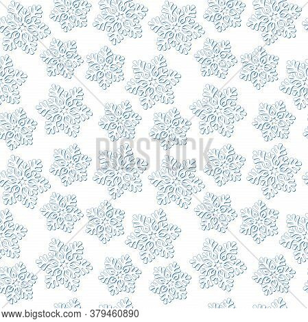 White Snowflakes With A Blue Outline On A White Background. Design Template, Winter Texture. Vector