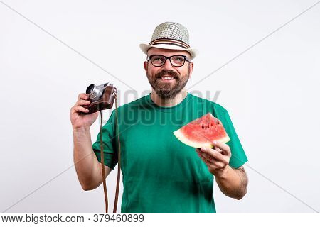 Man Portrait On White Background. Cheerful Man Portrait. Man Portrait With Vintage Camera And Waterm