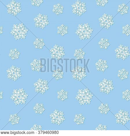 White Openwork Snowflakes With A Shadow On A Blue Background. Vector Seamless Pattern For Festive De