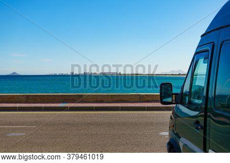 Camper Van On Sea Coast. Mediterranean Sea Landscape, Spanish Coastline, San Pedro Del Pinatar.