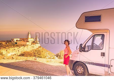 Female Tourist Visiting With Motorhome Mesa Roldan Location In Cabo De Gata Nijar Natural Park, Anda