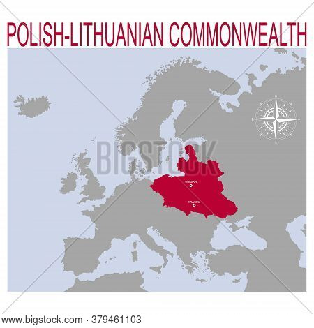Vector Map Of The Polish-lithuanian Commonwealth For Your Design
