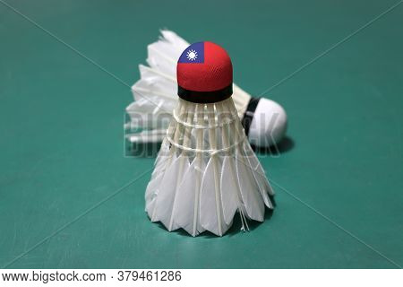 Used Shuttlecock And On Head Painted With Taiwan Flag Put Vertical And Out Focus Shuttlecock Put Hor