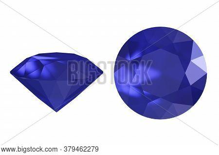 Blue Brilliant, Precious Diamond Isolated On White, 3d Illustration