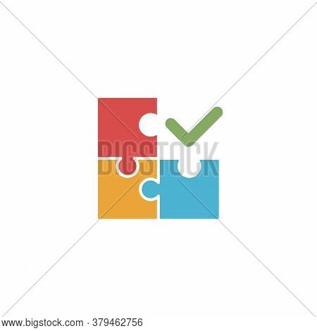 Puzzle Shape Connection With Check Mark. Together Compound And Coupling In Process, Vector Puzzles G