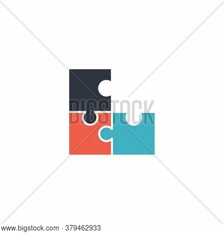Puzzle Shape Connection Together Compound And Coupling In Process, Vector Puzzles Game Sign, Puzzle