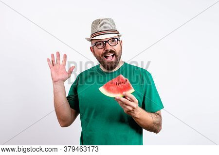 Man Portrait On White Background. Cheerful Man Portrait. Man Portrait With Watermelon. Man Smiling P