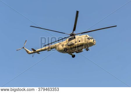 Ismailia, Egypt - November 14, 2019: A Mil Mi-8 Hip Helicopter Patrolling The Suez Canal In Egypt.
